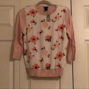 Ann Taylor Pink and White Flowered Sweater Blouse
